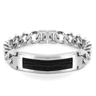 Stainless Steel Black Cable ID Bracelet