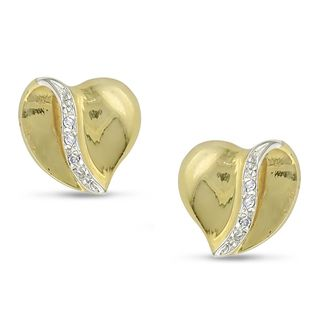 Miadora 10k Yellow Gold Diamond Heart Earrings (H I, I2 I3