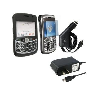 Eforcity Black Case/ Film/ Car/ Home Chargers for Blackberry 8330
