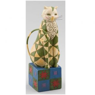 Jim Shore Green Star Cat Figurine