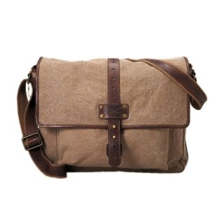 Fossil Max Brown Canvas Messenger Bag