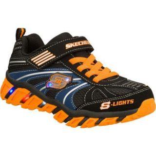 Boys Skechers S Lights Pillar Ignus Black/Orange