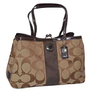 Coach Signature C 13533 Khaki Mahogany Leather Satchel Bag