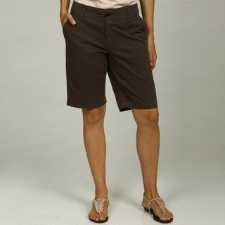 George & Martha Womens Brown Striped Bermuda Shorts