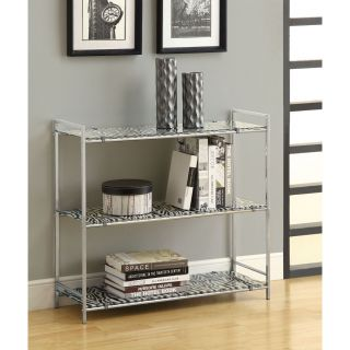 Chrome Metal 30 inch Etagere with Zebra Tempered Glass