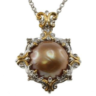 Michael Valitutti Two tone Gold Mabe Pearl and Champagne Diamond