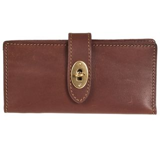 Fossil Womens Austin Brown Leather Bi fold Checkbook Wallet