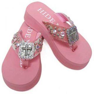 Hidden Sole Womens Pink Rhinestone Flip flops