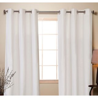 Arctic White Linen Cotton 84 inch Curtain Panel Pair