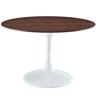Eero Saarinen Style Walnut/ White 48 inch Tulip Dining Table