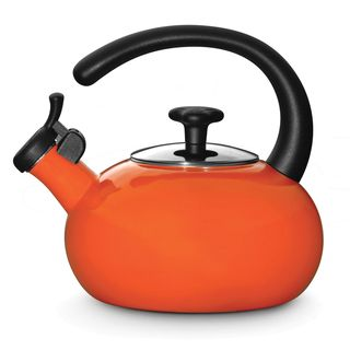 Rachael Ray Orange 1.5 qt. Porcelain/ Enamel Teakettle
