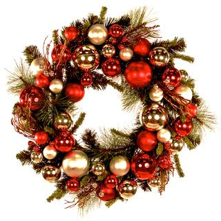 24 inch Red Silver Ornaments Holiday Wreath