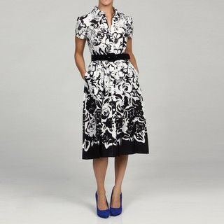 Jessica Howard Womens Petite Black/White Belted Dress