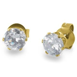 West Coast Jewelry Goldplated Stainless Steel 3 mm Cubic Zirconia Stud