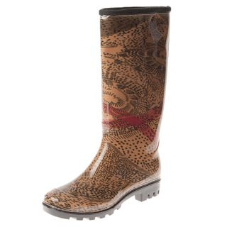Henry Ferrera Womens Abstract Leopard Printed Rain Boots