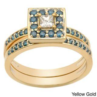 14k Gold 0.50ct TDW Princess Blue and White Diamond Bridal Ring Set (H