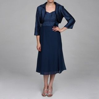 Taylor Womens Midnight Blue 2 piece Dress