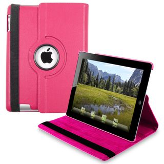 Hot Pink 360 degree Swivel Leather Case for Apple iPad 2/ 3