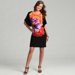 AnnaLee & Hope Womens Black/ Multi Floral Dress