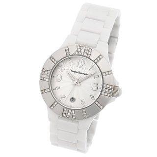 Yves Bertelin Paris Womens White Ceramic Crystal Watch