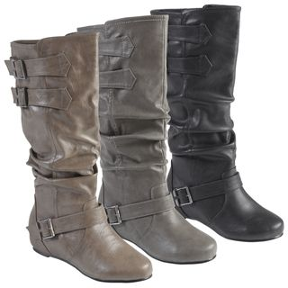 Hailey Jeans Co. Womens Tiffany Round Toe Buckle Detail Boots