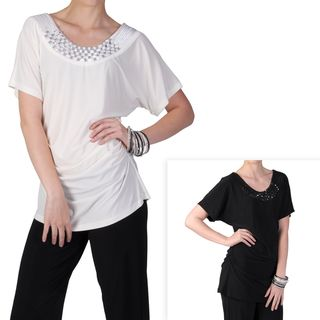 Tressa Designs Womens Short sleeve Embellished Neck Tunic Top