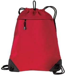 Upscale Cinch Backpack Bag With Mesh Trim   Chili Red