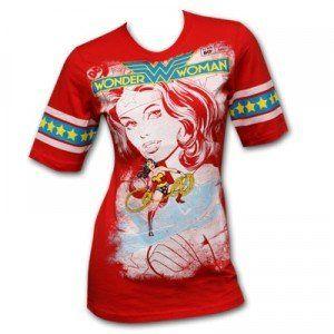 Wonder Woman Juniors Hockey Red T Shirt Clothing