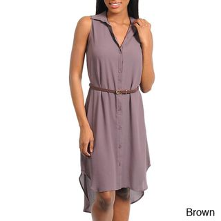 Stanzino Womens Sleeveless Belted Shirt Dress