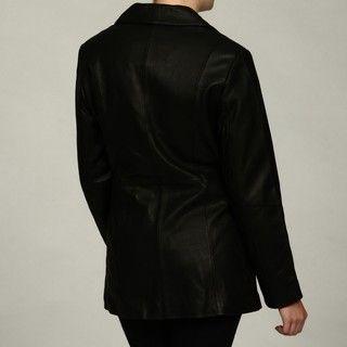 FourteenZero Womens Black Button Leather Trench Coat
