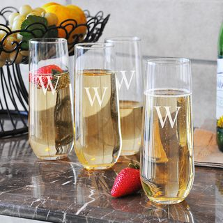 Custom Engraved Stemless Champagne Flutes (Set of 4)