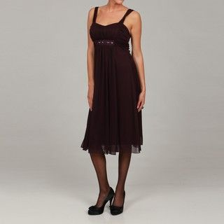 Connected Apparel Womens Beaded Ruched Dress