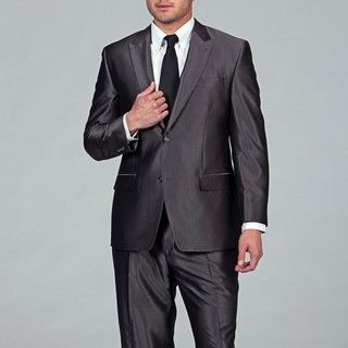 Sean John Mens Grey Stripe 2 button Suit