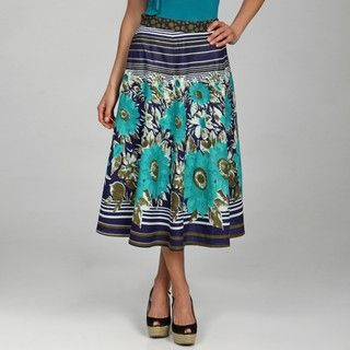 Studio West Womens Border Print Flat Front Circle Skirt