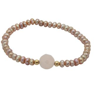 Junior Jewels 14k Gold Pink Pearl and Crystal Baby Bracelet (6 mm