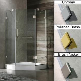 Vigo 40 x 40 Frameless Neo angle Clear Shower Enclosure and White Base