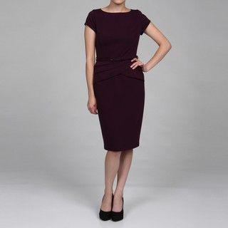 Evan Picone Womens Ponte Sleeve & Waist Detail Dress