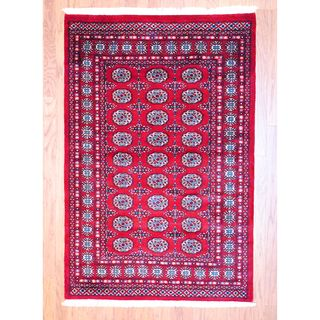 Pakistani Hand knotted Red/ Black Bokhara Rug (4 x 6)
