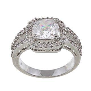 Silvertone Princess cut Cubic Zirconia Ring