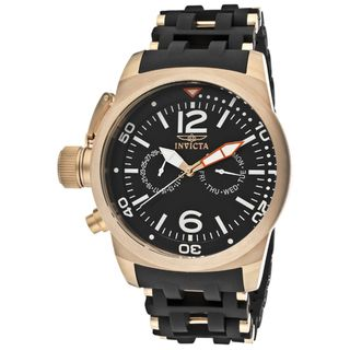 Invicta Mens Sea Spider Black Rubber 18k Rose Goldplated Watch