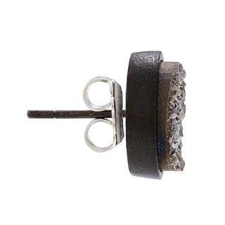 Caribe Gold Silver Druzy Gun Metal Earrings