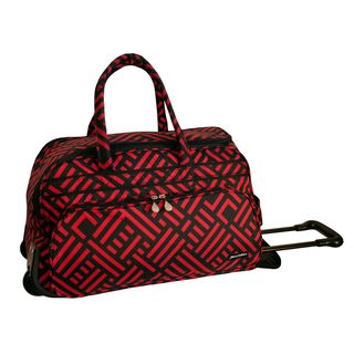 Jenni Chan Red/Black 20 inch Carry On Rolling Upright Soft Duffel Bag