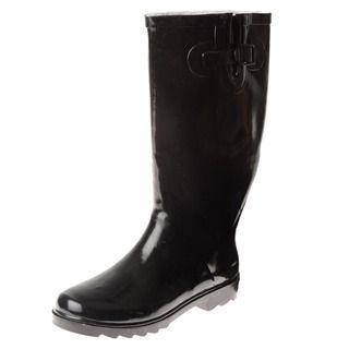 Henry Ferrera Womens Glossy Black Faux Fur lined Rain Boots