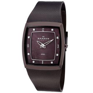 Skagen Womens Mesh Brown IP Stainless Steel Crystal Watch