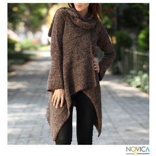 Alpaca Andean Style Hooded Coat (Peru)