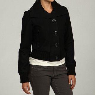 Black Rivet Womens Black Wool blend Bomber Jakcet