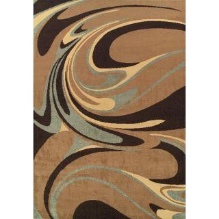 Alexa Abbey Modern Brown Paint Splatter Caricature Rug (49 x 75