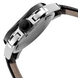 Swiss Legend Mens Scubador Black Dial Black Leather Chronograph Watch