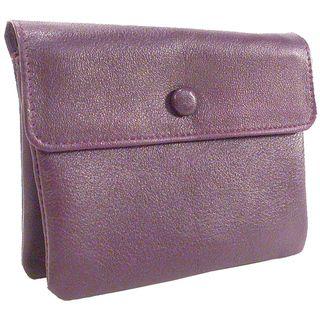 Bond Street Leather 3 pouch Purple Zippered Jewelry Travel Case