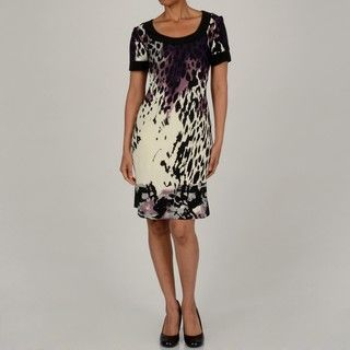 Tiana B Womens Purple 3/4 Sleeve Scoop Neck Animal Printed Dress